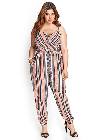 Striped Surplice Jumpsuit. Available in plus sizes. Forever 21+. $29.80.
