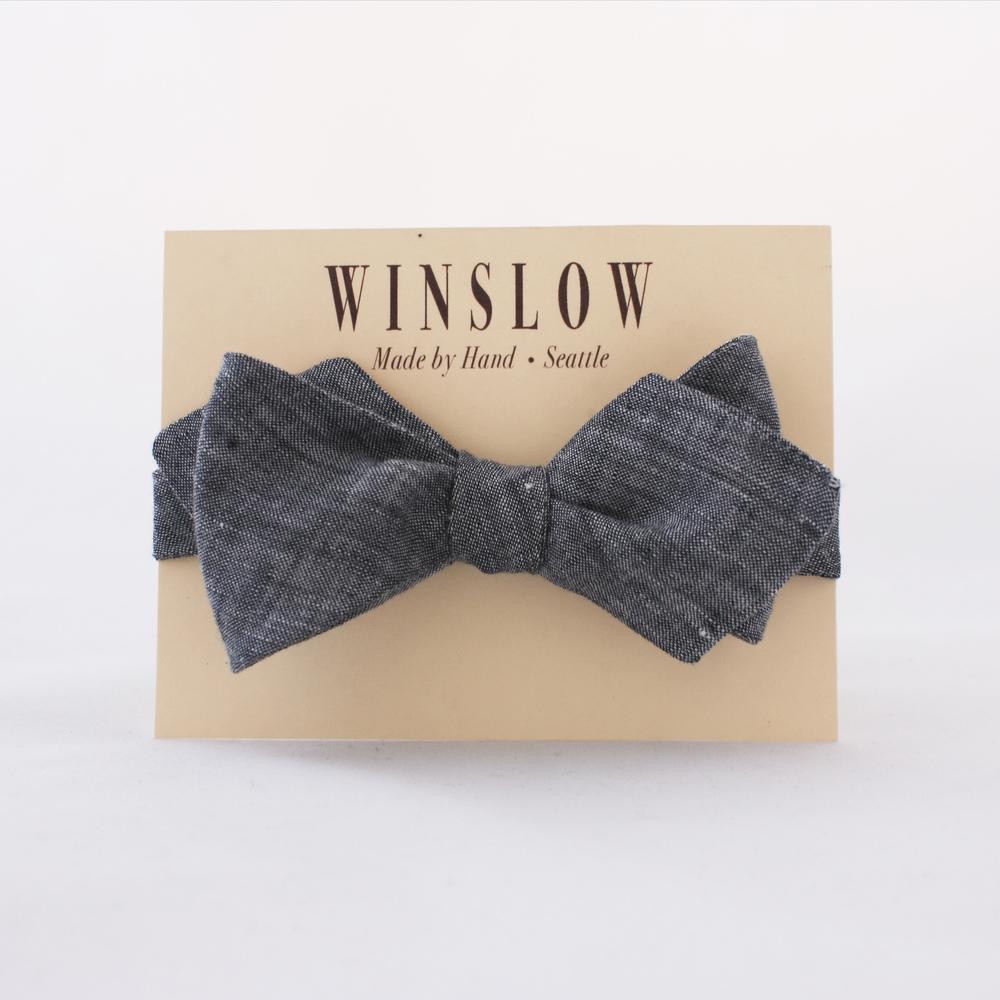 Winslow Grey Chambray Linen Bowtie. Winslow. $45.