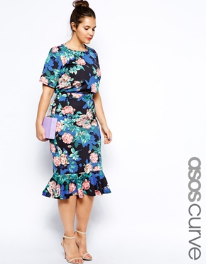 ASOS Curve Peplum Skirt in Winter Rose Print & Scuba T-Shirt in Winter Rose Print. ASOS.com. $60.97 & $47.64