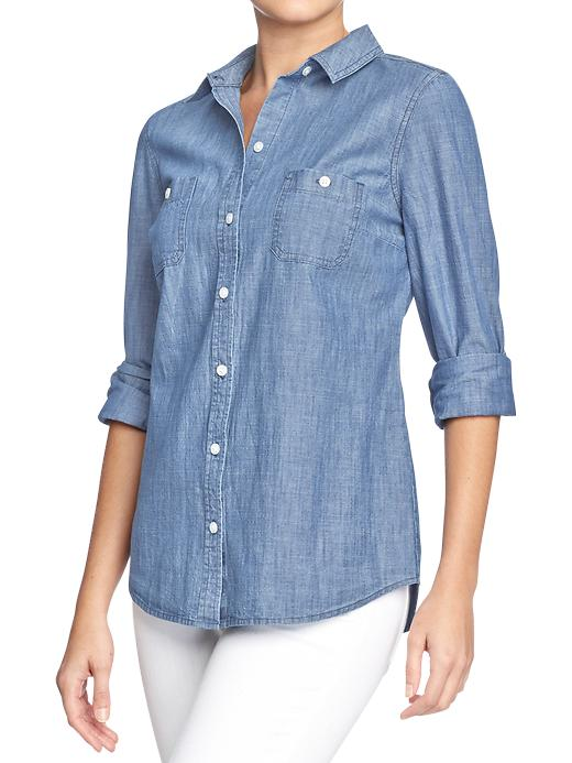 Classic chambray shirt. Old Navy. Was: $29.94 Now: $11.97.