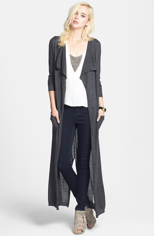 Leith Drape Front Duster Cardigan. Available in charcoal, olive. Nordstrom. $78.