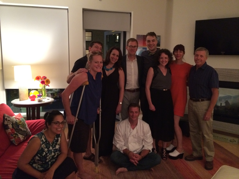 With the chef and guests at the Poplin Style Direction Kitchensurfing dinner.