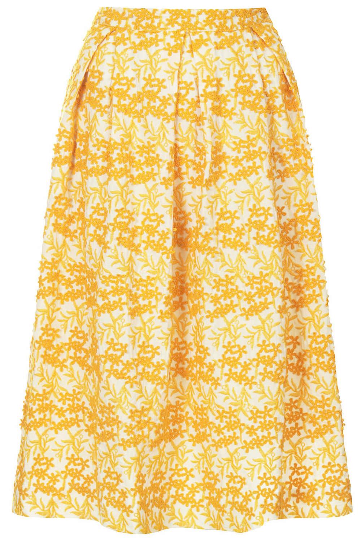 Topshop USA Daisy Embroidery Midi Skirt. Topshop. $140.