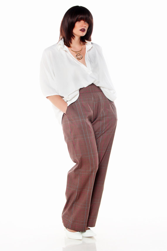 Plus Size High Waist Wide Leg Slacks in Lady Plaid. JIBRI @ Etsy. $135.00
