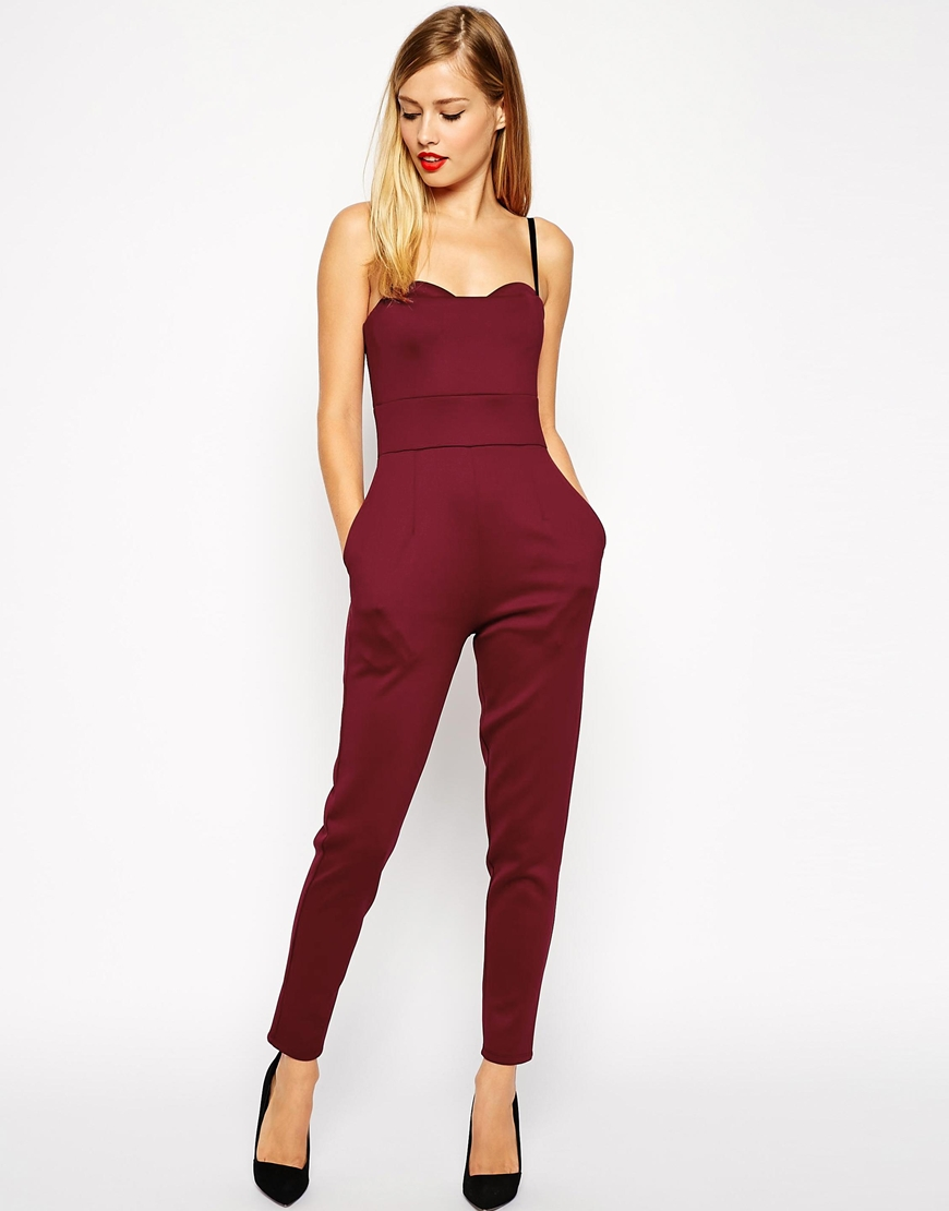 This one can work for most body types including apples as the waist is high and the thick fabric is flattering. ASOS Bra Strap Scuba Jumpsuit. ASOS. $76.17.