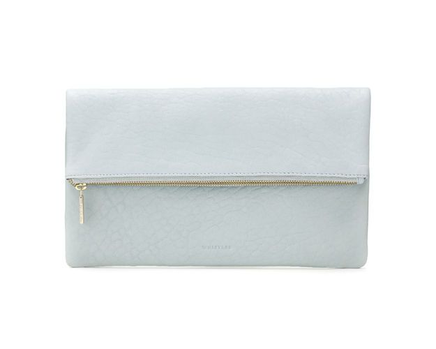Foldover Zip Clutch. Available in pale blue, white, black. WhistlesUK. $190.