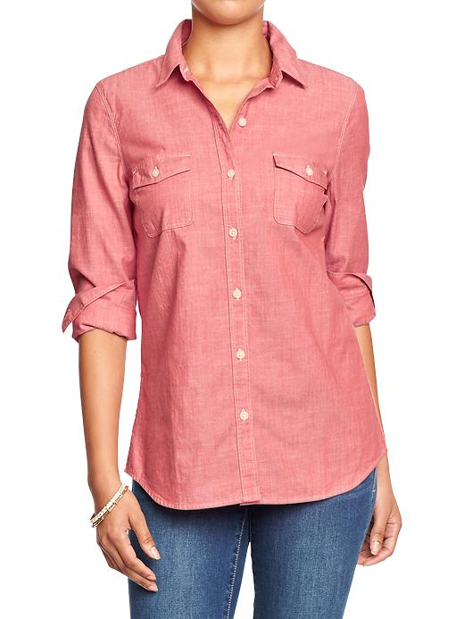 Chambray Shirt in Red. Old Navy. $17.00.