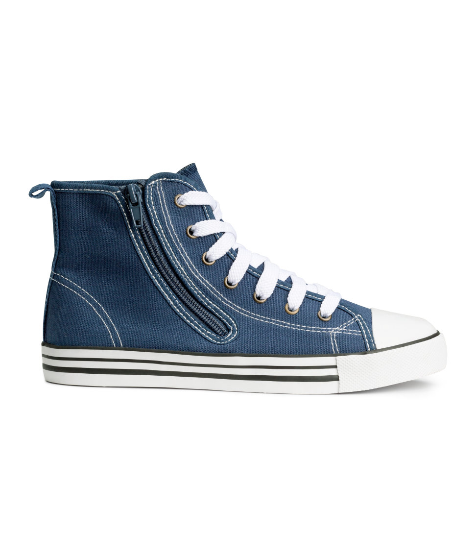 The look of Converse for kids without the need to tie. High Tops. Available in blue, white. H&M. $14.95.
