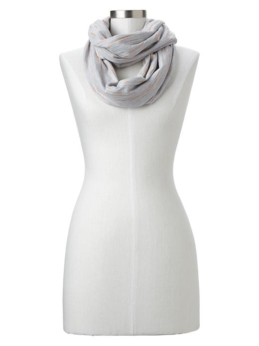 Space-dye Terry Infinity Scarf. Available in light shell pink, blue heather. The Gap. Was: $19 Now: $13.99.