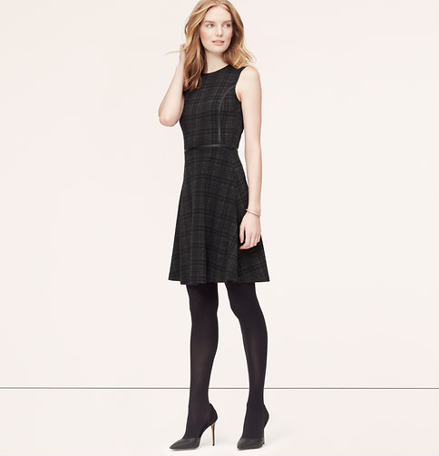 Tall Faux Leather Trim Plaid Dress. Available in charcoal. Loft. $89.50.