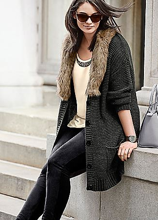 Sweater Coat with Fur collar. Lane Bryant. $119.95.