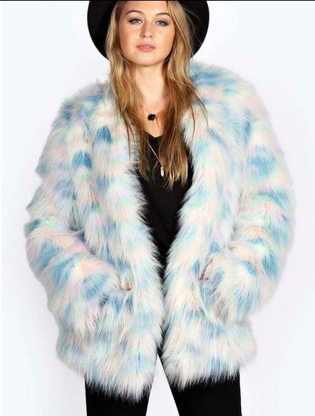 Katja Rainbow Pastel Fax Fur Coat. Boohoo.com. $80.00