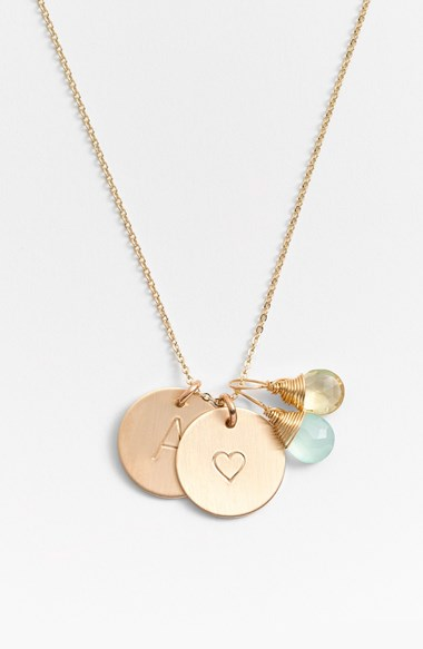 Nashelle Aqua Chalcedony, Lemon Quartz, Initial & Heart 14K Gold Fill Disc Necklace. Nordstrom. $138. This is also a glorious gift. Just include the initials for the recipients children or grandchildren. I'm also a fan for new brides (with new initials!).