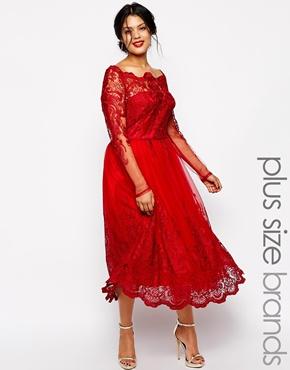 Chi Chi Plus Longsleeved Lace Bordot Midi Dress. ASOS. $142.13