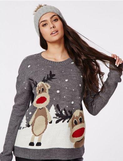 Reindeer Print Christmas Jumper. Misguided.com. $32.28