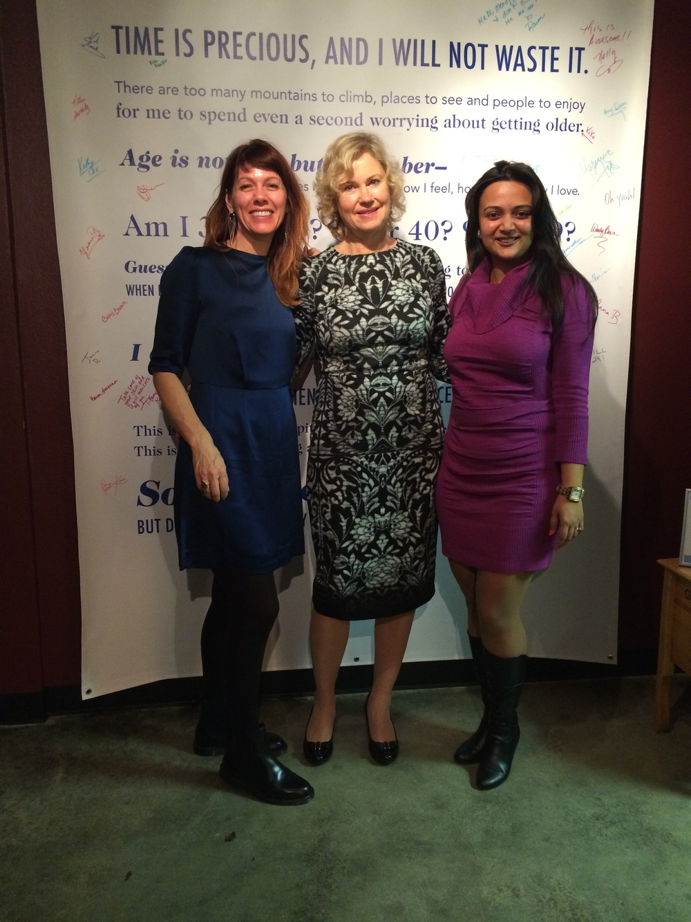 With co-founder Kathleen Spitzer and another local blogger. All of us are sans make-up and being documented. For real.