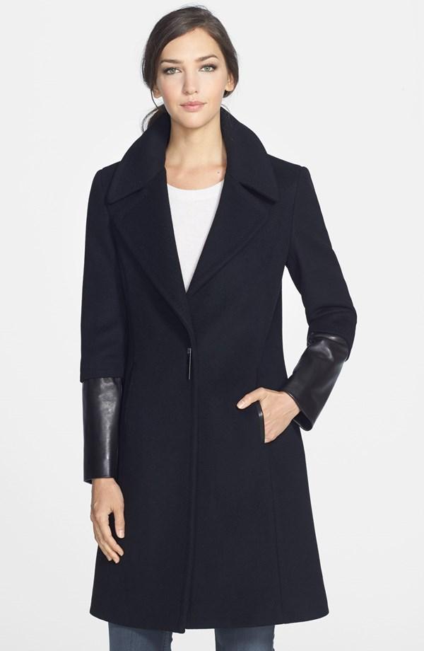 Elie Tahari Dawson Leather Trim Wool Coat. Nordstrom. Was: $670 Now: $334.