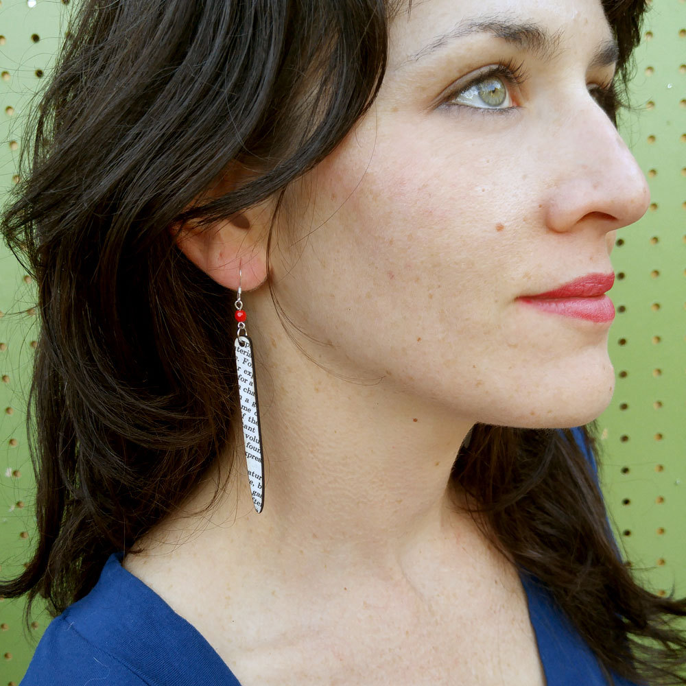 Yes and Yes designs Spear Earrings. Made From Books. $30.