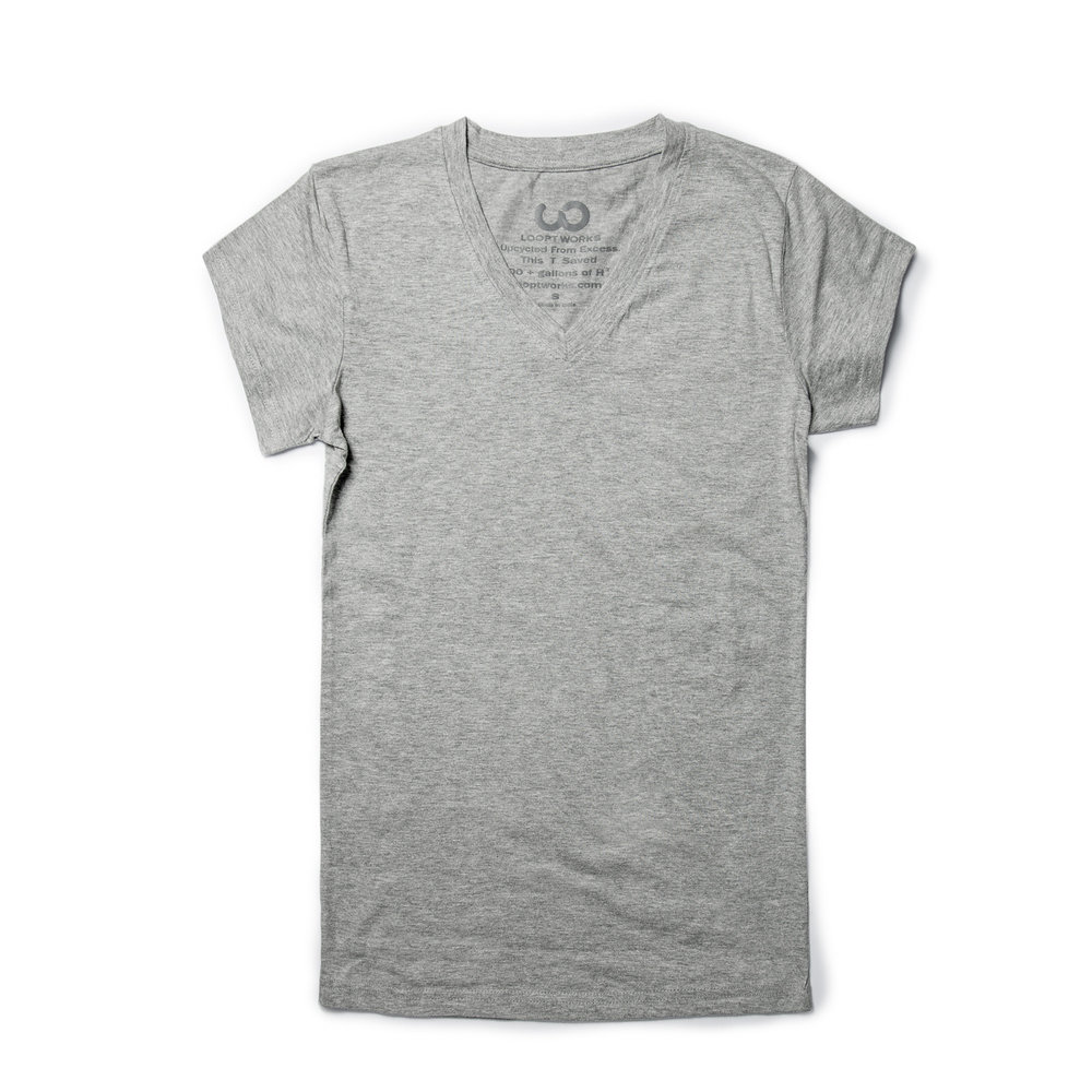 WOMEN'S BASIC UPCYCLED V-NECK TEE - GRAY. Looptworks. $15. Saves 400 gallons of water.