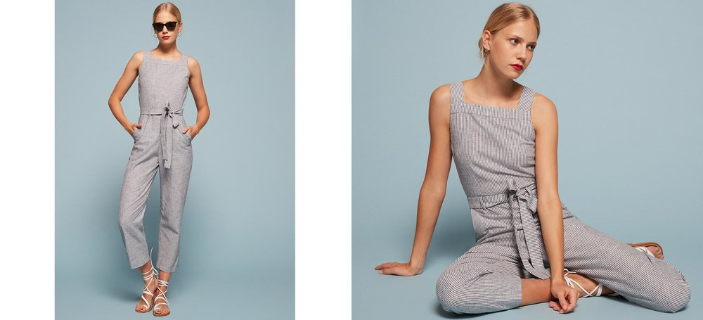 Clearwater Jumpsuit. Reformation. $198. Sourcing sustainable fabrics, vintage fabrics and made in LA.