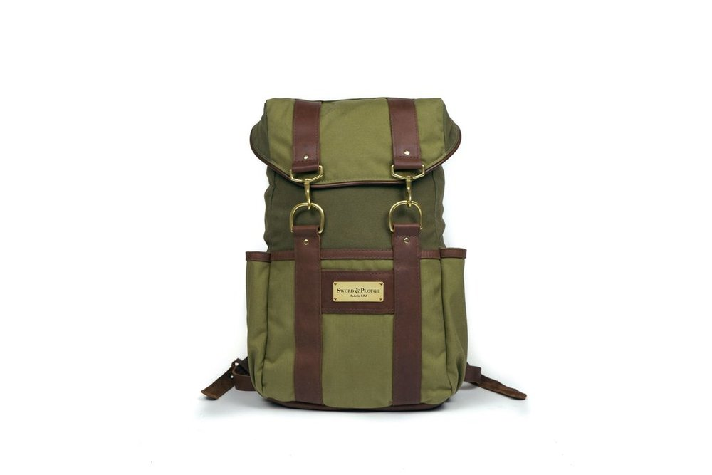 Green Signature Rucksack. Sword & Plough.  $289. Made from military goods.