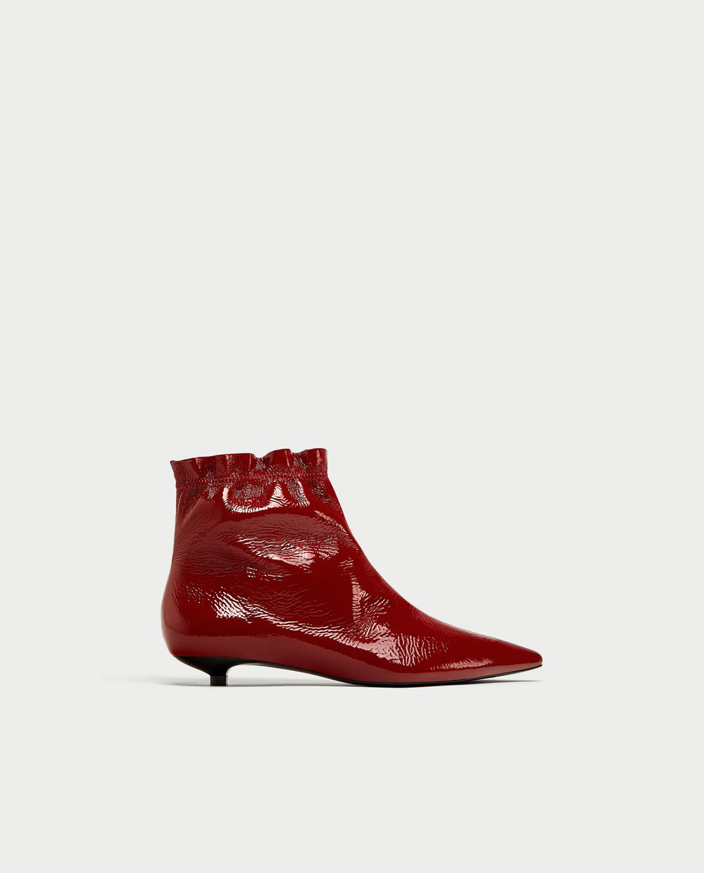 FLAT PATENT FINISH LEATHER ANKLE BOOTS. Several colors and similar styles available. Zara. $89.