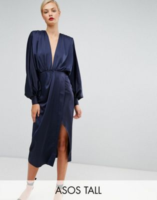 ASOS TALL Shoulder Pad Long Sleeve Selenia Midi Dress. ASOS. $87.