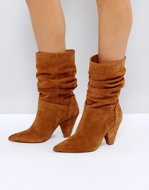ASOS CIANNA Suede Slouch Cone Heel Boots. ASOS. $127.