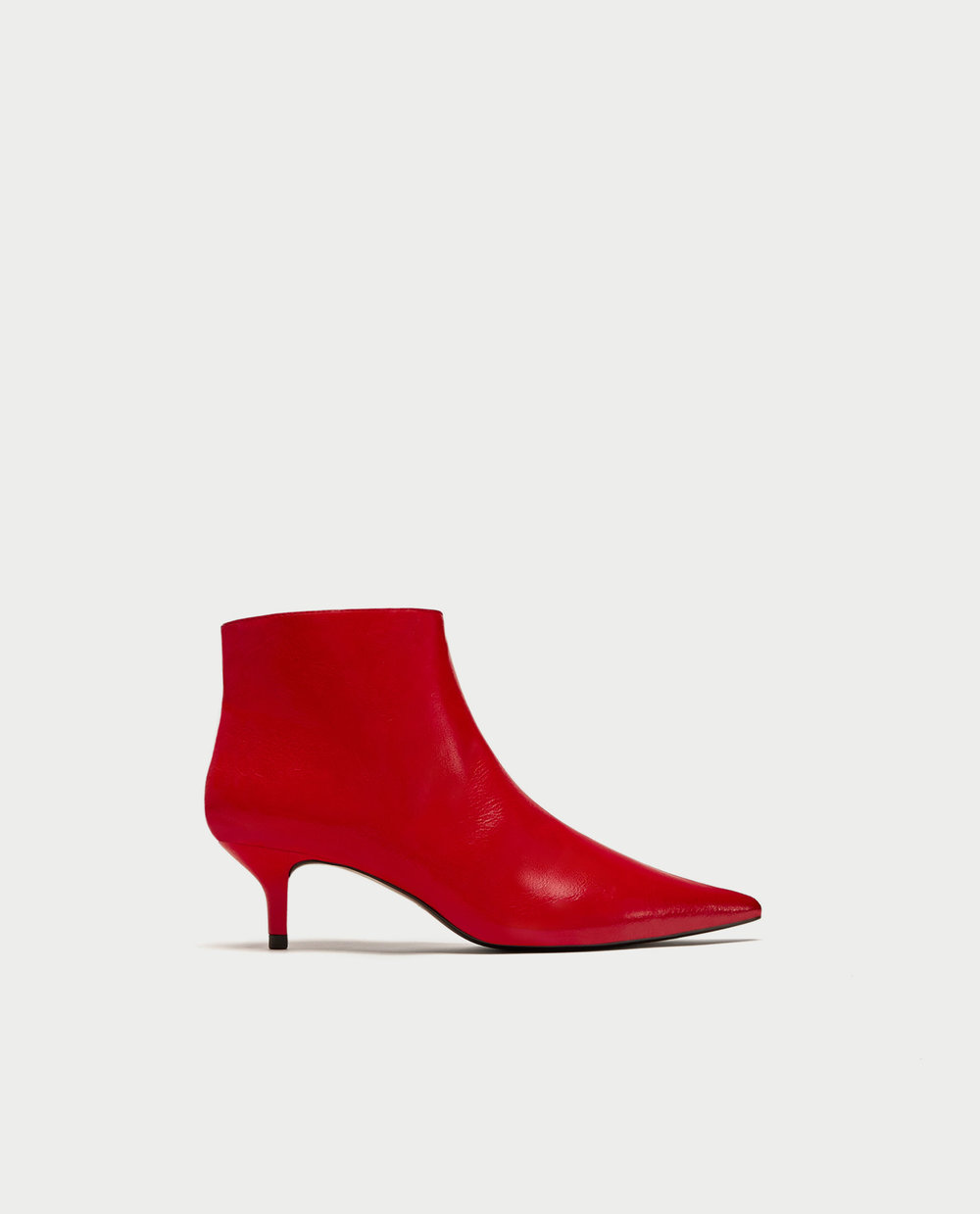 RED MID-HEEL ANKLE BOOTS. Zara. $39.