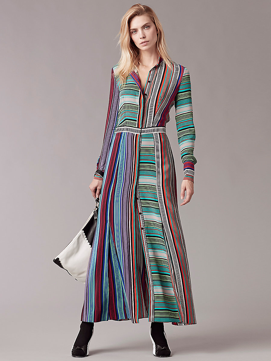 DVF Long-Sleeve Collared Flare Shirtdress. DVF. Was: $498. Now: $298.