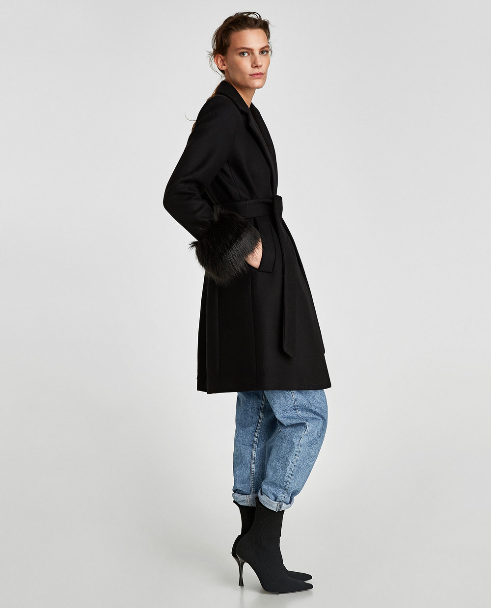 COAT WITH TEXTURED CUFFS. Available in two colors. Zara. $199.