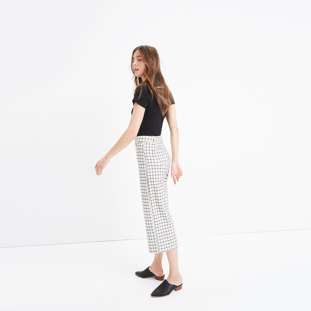 langford wide-leg crop pants in windowpane. Madewell. Was: $118. Now: $79.