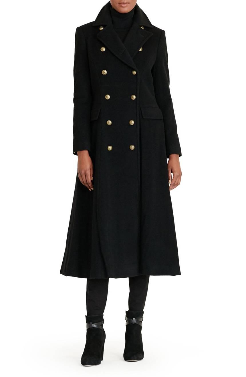 Lauren Ralph Lauren Double Breasted Military Maxi Coat. Available in navy, black. Nordstrom. Was: $420. Now: $314.