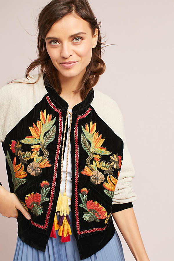 San Telmo Jacket. Anthropologie. $138. (Jackets are one item that can easily trip you up. Trends in fit change relatively quickly. Make sure your jacket style is flattering AND current. Embroidery is big right now.)