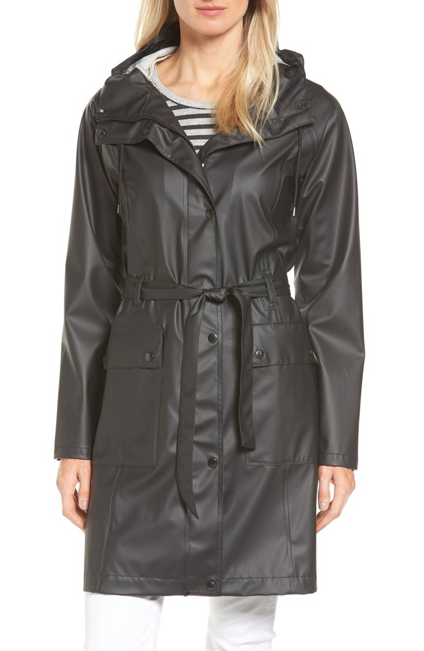 Ilse Jacobsen Hornbæk Hooded Raincoat. Available in light blue, black. Nordstrom. $179.