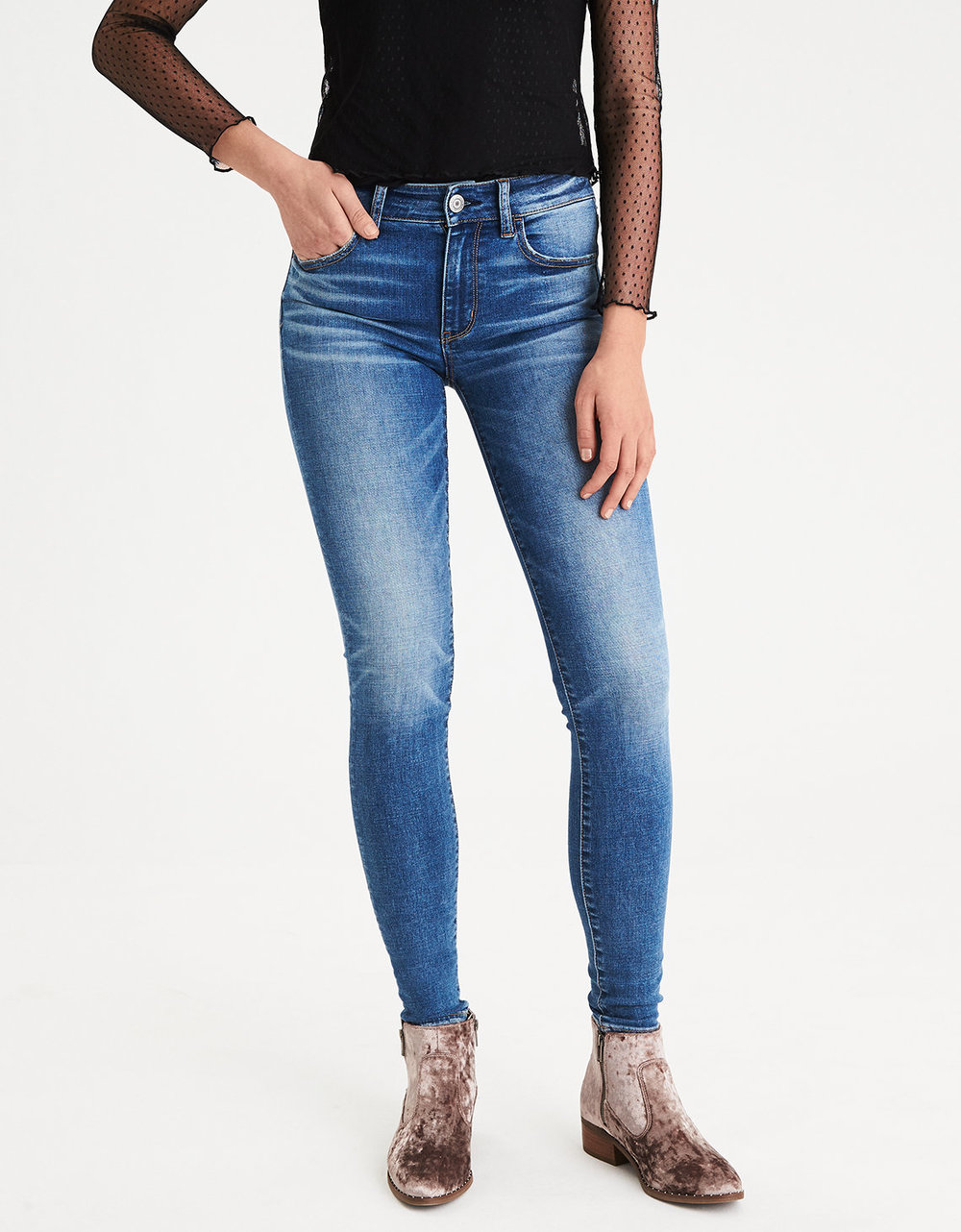 AE DENIM X HI-RISE JEGGING. Available in multiple rises and washes. American Eagle Outfitters. Was: $49. Now: $37.