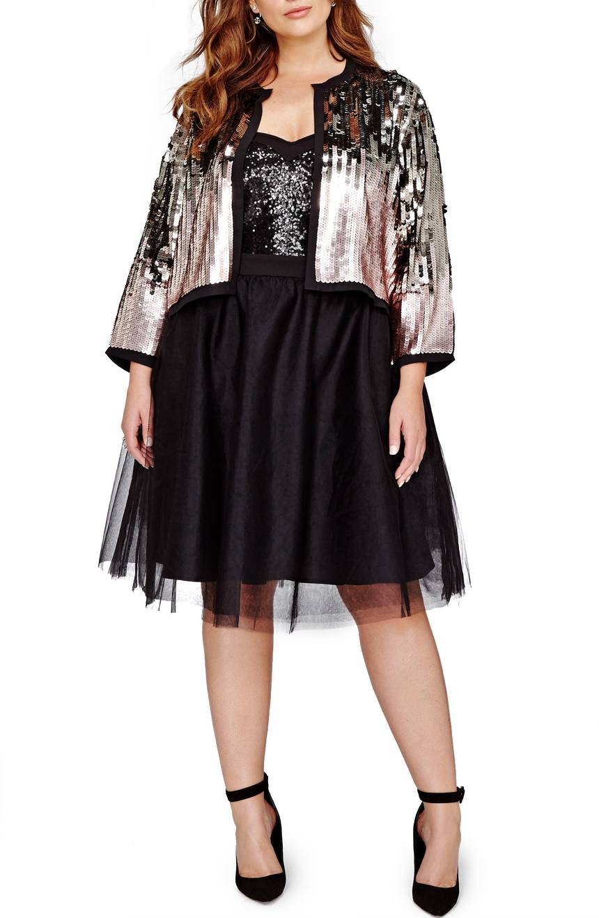Michel Studio Sequin Crop Jacket. Available in plus size. Nordstrom. $128.