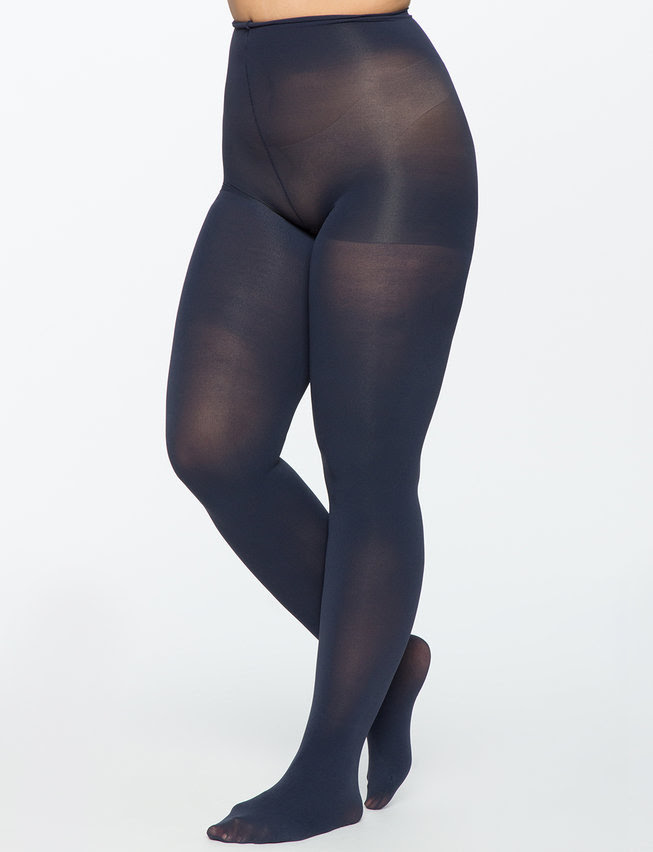 1. Premium Opaque Tights. Available in navy, charcoal. Eloquii. $19. Additional 40% off with code: DAY3.