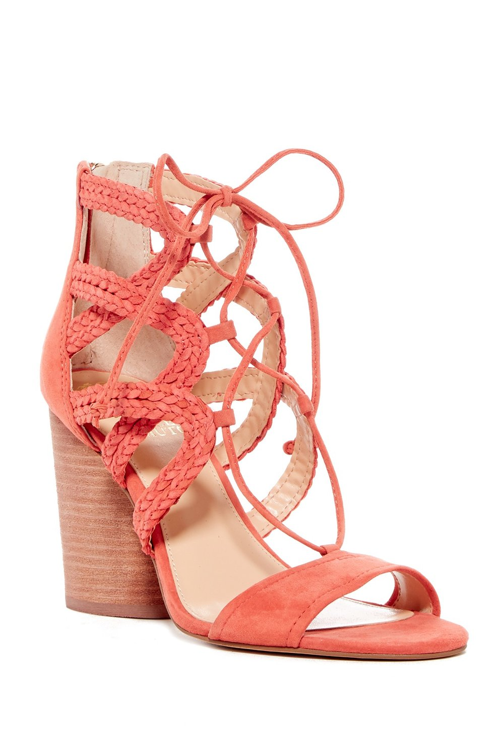 Lace ups are still going strong and they bring a feminine and fun vibe into the mix. Try a block heel like this one for ease when walking.  Vince Camuto Ambular Suede Sandal. Nordstrom Rack. Was: $120. Now: $69.
