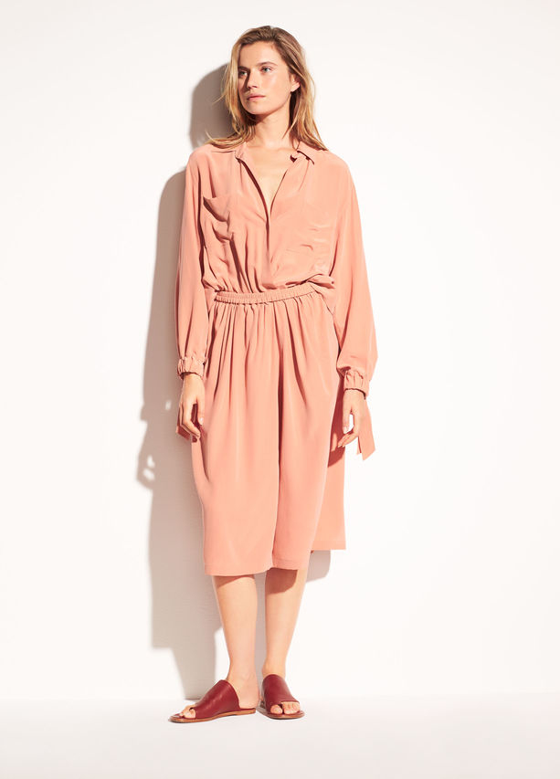 Prefer something relaxed and sophisticated? Vince never disappoints. Plus, it's fun to see the colors in this season's collection.  Vince Slit Back Silk Shirtdress. Available in two colors. Vince. $465.