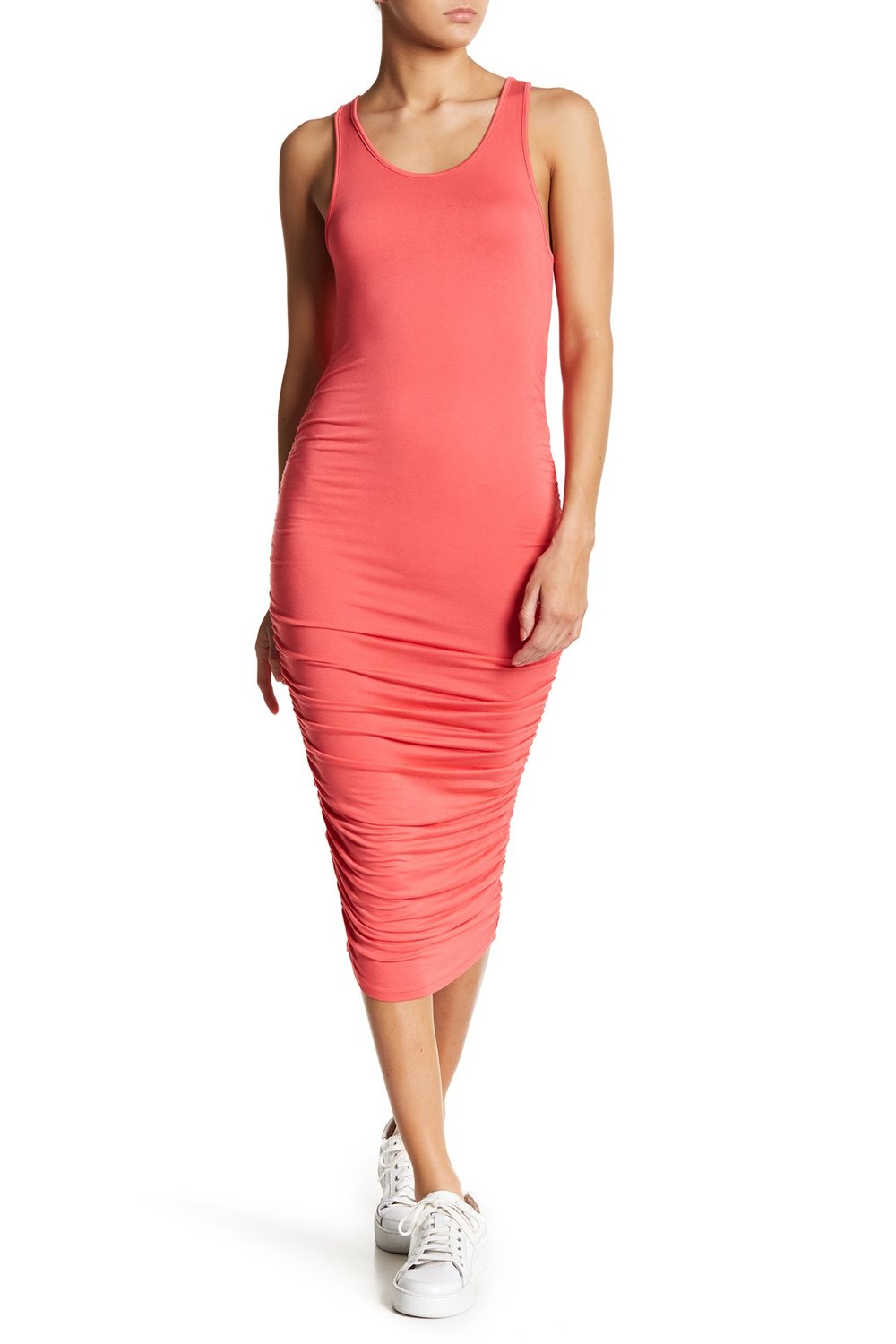 Yes! A great option for a woman who wants so show her shape- always a win for women with rectangle or hourlgass silhouettes. This effortless dress is super affordable, ideal for traveling and just right for layering, too.   PLANET GOLD Sleeveless Side Ruched Midi Dress. Nordstrom Rack. Was: $39. Now: $16.
