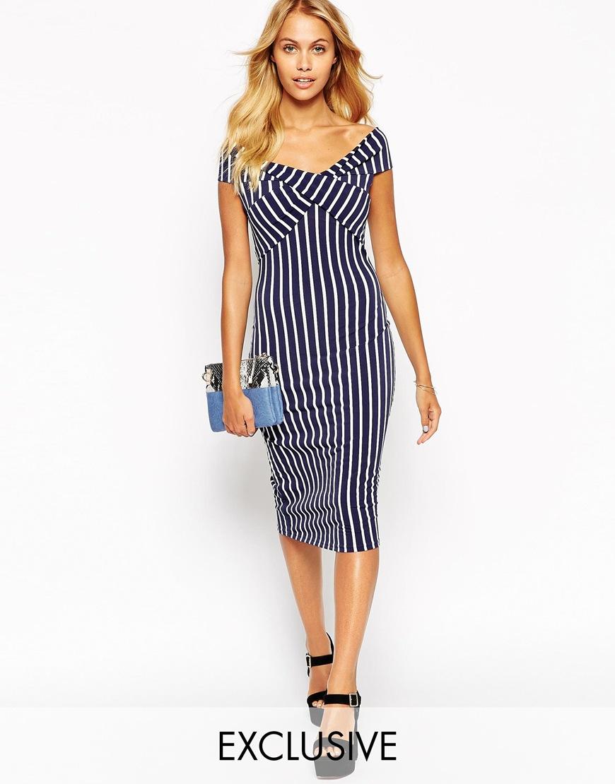 Love Off Shoulder Wrap Midi Dress in Stripe. ASOS. $55.