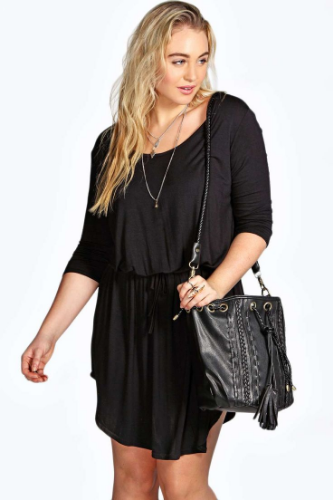 Claire Tie Waist 3/4 Sleeve Dress. Boohoo plus. Also in Blue, Black and Grey.$30.