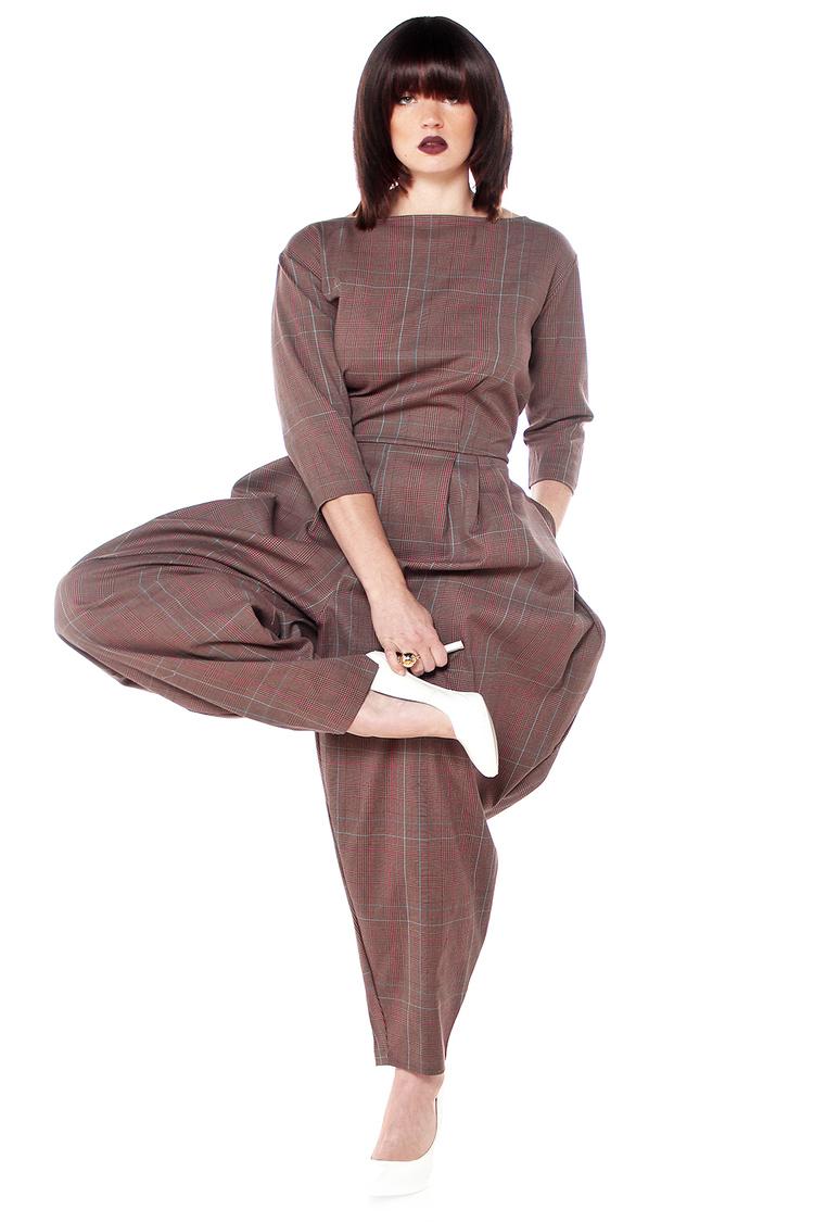Lady Plaid Midi Sleeve Jumpsuit. JIBRI.$250.