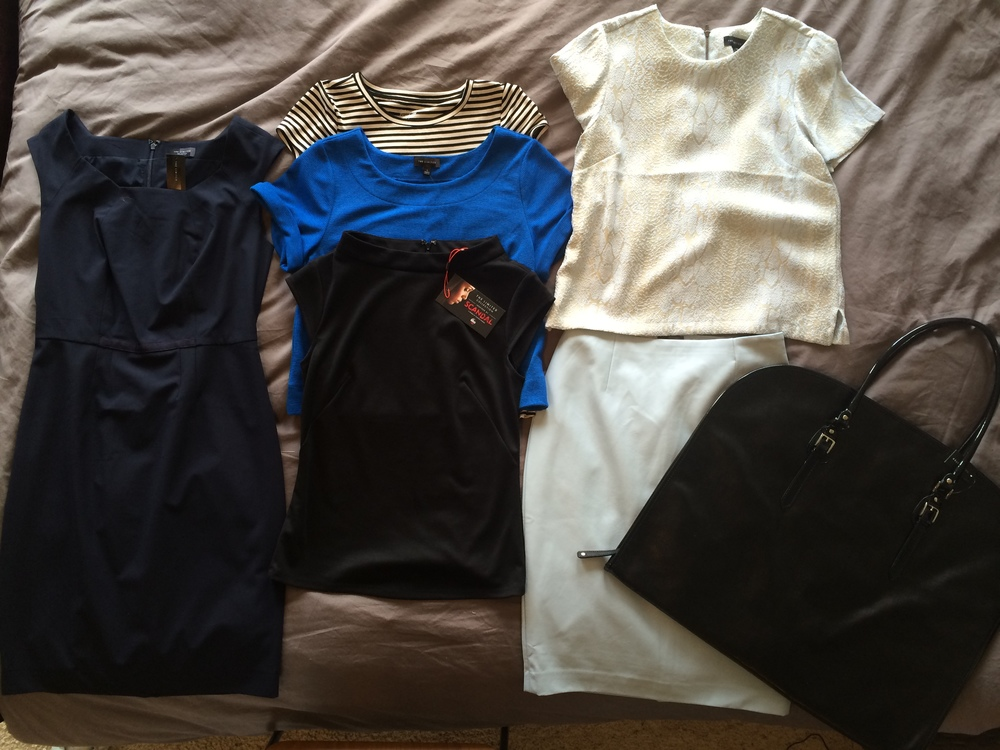 This was my haul that evening... I should say that I went back for more the following week. That skirt is light blue vegan leather!