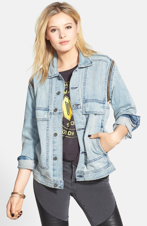 Volcom Zzzip It Denim Jacket with Removable Sleeves. Nordstrom. Currently unavailable.