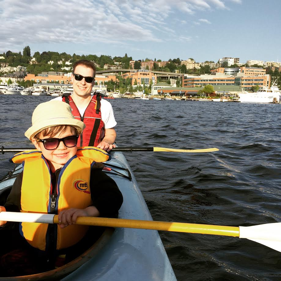 The Marx family father/son duo at Lake Union last week. Kayak rentals only $22/hour for a double.
