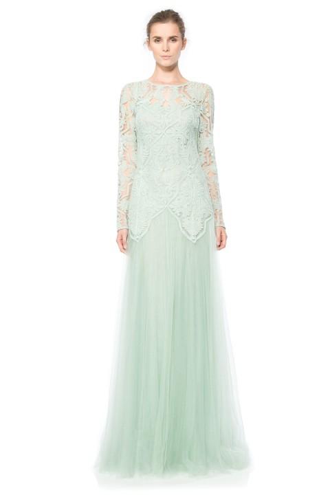 Sheer Illusion Long Sleeve Gown. Tadashi Shoji. $568.00