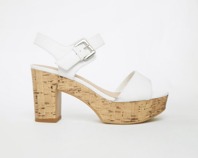 New Look Wide Fit Pint White Cork Heeled Sandals. ASOS. $45.29