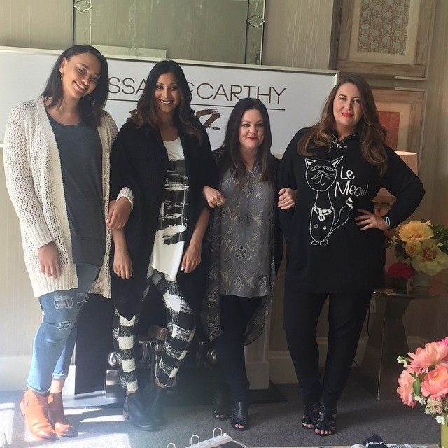 A sneak peak at the new collection with part of the Melissa McCarthy Seven7 team at  Sunrise Brands.